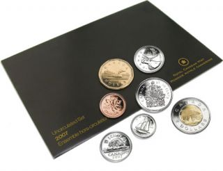 2007 BRILLIANT UNCIRCULATED SET , 10 cents Curved 7