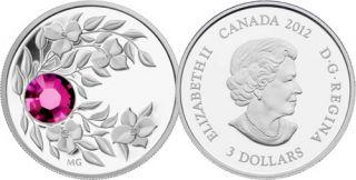 2012 - $3 - January Birthstone (Garnet) - Fine Silver Coin