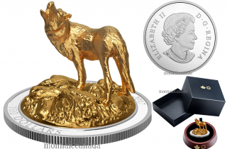 2017 - $100 - 10 oz. Silver Gold-Plated Coin - Sculpture of Majestic Canadian Animals: Wolf