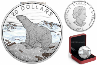 2017 - $20 - 1 oz. Pure Silver Coloured Coin – Glistening North: The Polar Bear