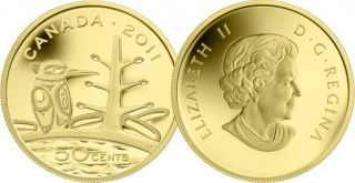 2011 - 50 Cents - 1/25 Ounce Pure Gold Coin - Boreal Forest