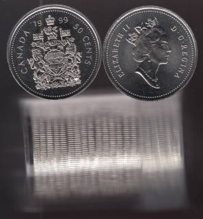 1999 Canada 50 Cents - BU ROLL 21 Coins in Plastic Tube