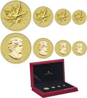 2014 - Ensemble de 4 pièces divisionnaires en or pur - La feuille d'érable