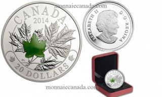 2014 - $20 - 1 oz Fine Silver Coin - Majestic Maple Leaves with Jade