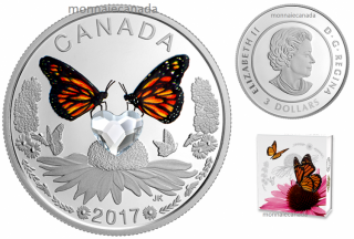 2017 - $3 - Celebration of Love – Pure Silver Coin made with Heart-Shaped Swarovski® Crystal