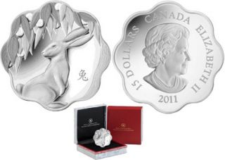 2011 - $15 - Silver Lunar Lotus - Year of the Rabbit