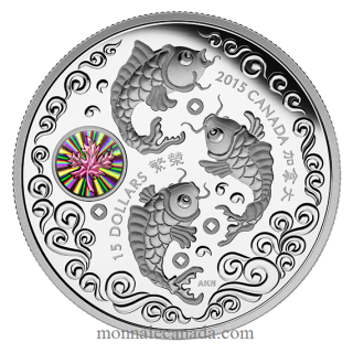 2015 - $15 - 1 oz. Fine Silver Hologram Coin – Maple of Prosperity