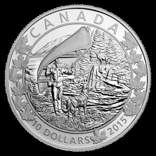 2015 - $10 - 1/2 oz. Fine Silver - Canoe Across Canada