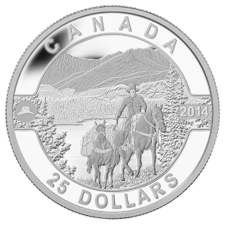 2014 - $25 - 1 oz. Fine Silver Coin - Cowboy in the Canadian Rockies