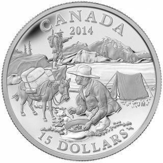 2014 - $15 - Fine Silver Coin - Exploring Canada - The Gold Rush