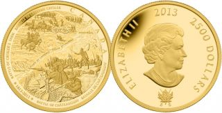 2013 - $2500 - Pure Gold 1 Kilogram Coin - Battle of Châteauguay and Battle of Crysler's Farm