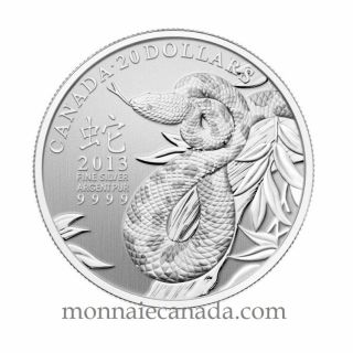 2013 - 1/4 oz Fine Silver Coin - $20 - Year of the Snake