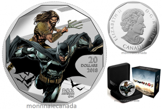 2018 - $20 - 1 oz. Pure Silver Coloured Coin - The Justice LeagueTM: Batman and Aquaman