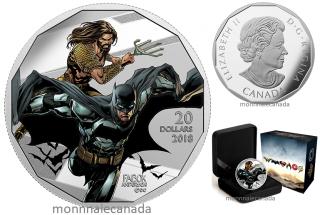2018 - $20 - 1 oz. Pure Silver Coloured Coin -The Justice LeagueTM: Batman and Aquaman