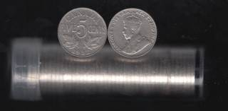 1932 Canada 5 Cents - 40 Coins in Plastic Tube