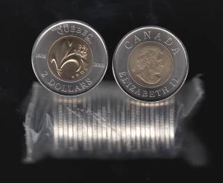 1608 2008 Canada $2 Dollars  - 400th Quebec - BU Roll 25 Coins - UNC