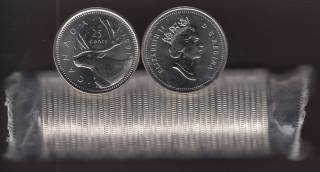 1991 Canada 25 Cents Caribou - BU ROLL 40 Coins - UNC - RARE