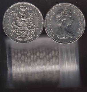 1980 Canada 50 Cents - Half Dollar - BU ROLL 21 Coins - UNC
