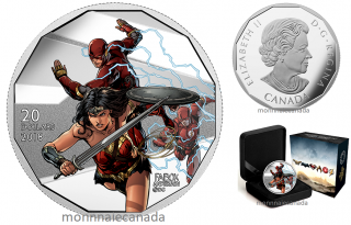2018 - $20 - 1 oz. Pure Silver Coloured Coin -The Justice LeagueTM: Wonder Woman and The Flash