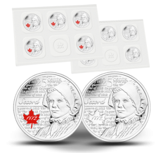 2013 Canada 25 Cents Laura Secord - Pack of 10 Coins Coloured and Frosted - War 1812