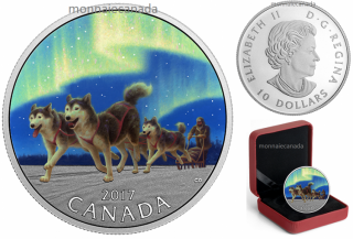 2017 - $10 - 1/2 oz. Pure Silver Coloured Coin – Dog Sledding Under the Northern Lights