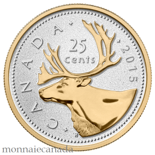 2015 -25 Cents - 5 oz. Fine Silver Gold-Plated Coin – Big Coin Series: 25 Cent