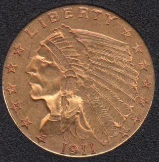 US 1911 Indian Head $2.50 Quarter Eagle Gold Coin