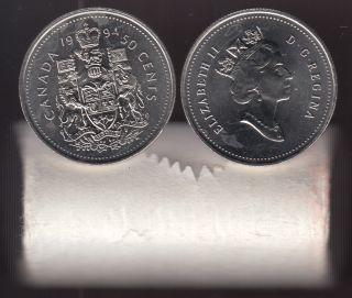 1994 Canada 50 Cents - Half Dollar - BU ROLL 25 Coins - UNC