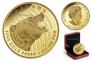 2016 - $200 - 1 oz. 99.999% Pure Gold Coin – Roaring Grizzly Bear