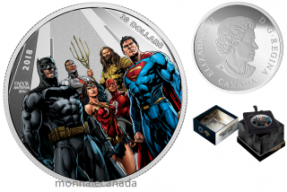 2018 - $30 - 2 oz. Pure Silver Coloured -The Justice LeagueTM: The World's Greatest Super Heroes