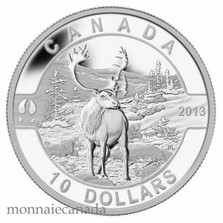 2013 - $10 1/2 oz Fine Silver Coin - Caribou