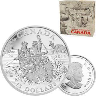 2014 - $15 - Fine Silver Coin - Exploring Canada - The Voyageurs