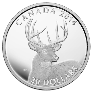 2014 - $20 - 1 oz. Fine Silver - The White-Tailed Deer