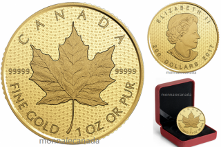 2017 - $200 - 1 oz. 99.999% Pure Gold Coin – Canada 150 Iconic Maple Leaf