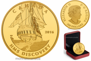 2016 - $200 - 1 oz. Pure Gold Coin – Tall Ships Legacy: HMS Discovery