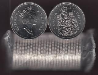 1996 Canada 50 Cents - Half Dollar - BU ROLL 25 Coins - UNC