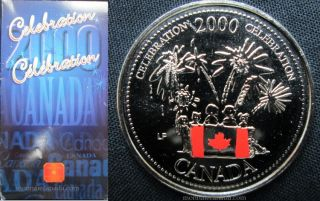 2000 25 cents Celebration Coloured Coin - Canada Day