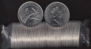 1992 Canada 25 Cents Saskatchewan BU ROLL 40 Coins - UNC