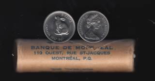 1967 Canada 5 Cents - Roll 40 Coins - Original Wrap - B.UNC