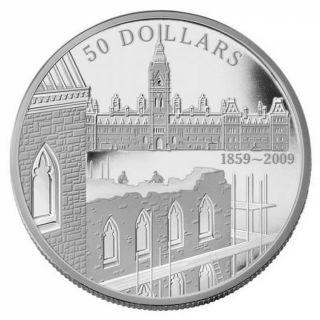 2009 $50 Dollars Fine Silver - 150th Anniv. Constr. Parliament - TAX Exempt