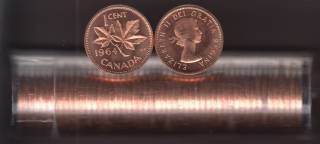 1964 Canada 1 Cent - BU ROLL 50 Coins - UNC - in Plastic Tube