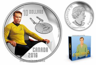 2016 - $10 - 1/2 oz. Pure Silver - Star TrekTM Crew - Captain Kirk