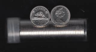 1978 Canada 5 Cents - 40 Coins in Plastic Tube - B.UNC