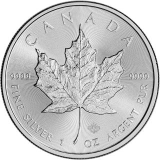 1 oz Canada Maple Leaf Pre-Owned Fine Silver - Mixed Date - Laser Security - No Tax