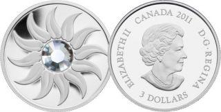 2011 - $3 - Fine Silver Coin - April Birthstone (Diamond)