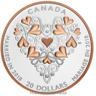 2018 - $20 - 2018 Best Wishes On Your Wedding Day - 1 oz. Pure Silver Coin with Pink Gold Plating