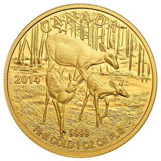 2014 - $200 - 1 oz. Pure Gold Coin - White Tailed Deer: Quietly Exploring