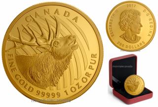 20147 - $200 - 1 oz. 99.999% Pure Gold Coin – Elk