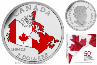 2015 - $3 -  Fine Silver Coloured Coin – 50th Anniversary of the Canadian Flag