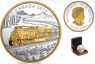2017 - $20 - Locomotives - The GE ES44AC  - 1 oz. Pure Silver Gold-Plated